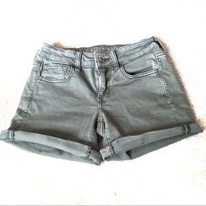 AEO Super Stretch Mid Denim Olive Green Shorts-0